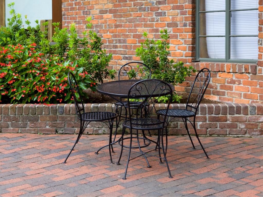 a clean brick patio